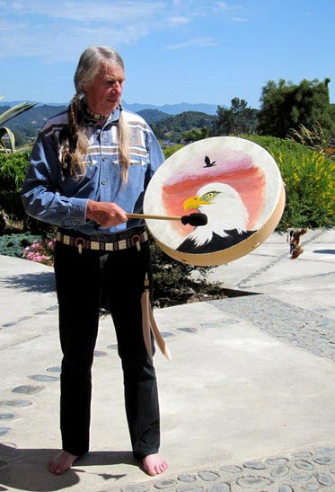 Using a buffalo drum